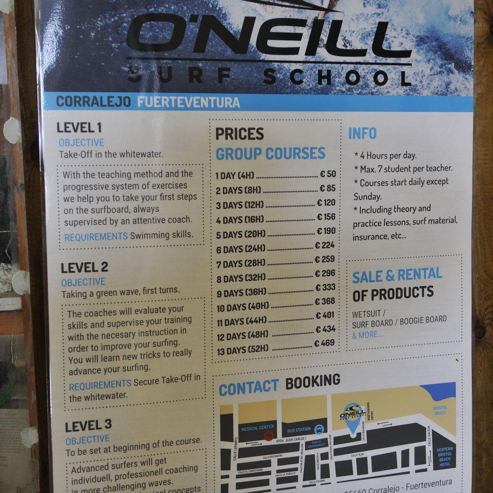 Tarifas Oneill surf school